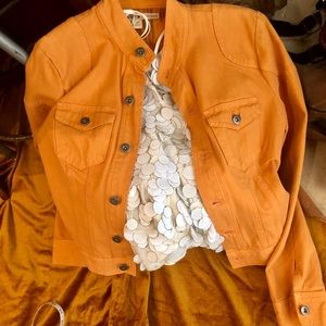 TOMMY HILFIGER pale orange denim jacket size S/P